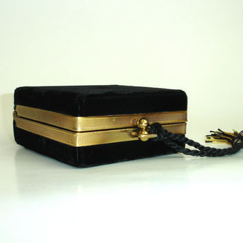 Vintage Black Velvet Box Purse with Tassel, Square Clutch, Evening Bag, Mid Century Handbag, 1940's 1950s