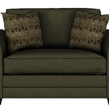 Valencia Chair Sleeper Sofa by Savvy in Microsuede Thyme