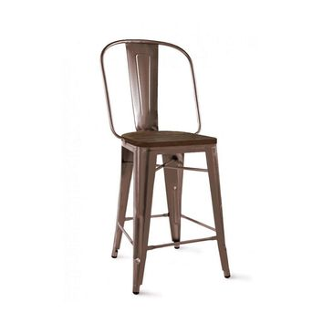 Dreux Rustic Matte Elm Wood Steel Counter Chair 24 Inch (Set of 4)