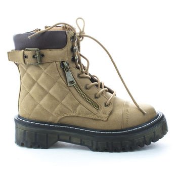 HarrietHX4 Camel Pu By Cape Robbin, Military-Combat Lace Up Quilted Thick Heel Ankle Boots