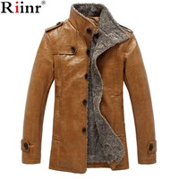 Leather Jacket Men Coats High Quality PU Outerwear Men Business Winter Faux Fur Male Jacket