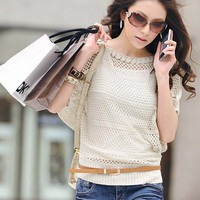 Short Sleeve Knitted Blouse