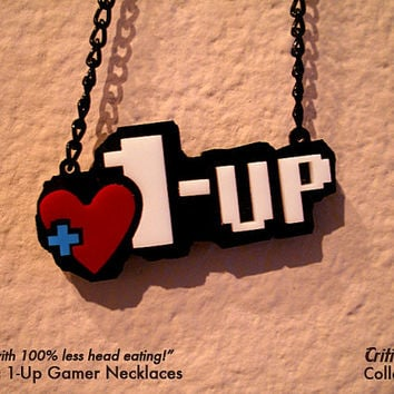 Acrylic 1-Up Necklace - Video Game Jewelry geek pendant retro zelda mario life