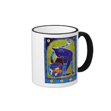 Blue Cat With Goldfish Ringer Mug
