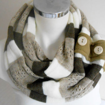 Men infinity scarf, Knitted scarf striped male, Brown beige white striped scarf, Unisex scarves, Men loop scarf, Men infinity scarf