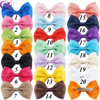 "20 Pcs/lot 3"" Plain Ribbon Bows With Hair Clips For Kids Girls Mini Hair Bows Barrettes Hairpins Hairgrips Hair Accessories"
