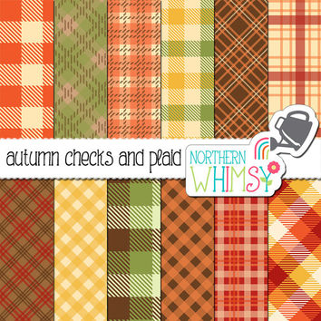 Autumn Plaid Digital Paper Pack – plaid, gingham, and buffalo check digital paper in fall colors - fall digital paper - commercial use OK