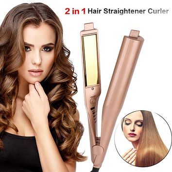Gold 2 in 1 Professional  Straightening Iron Hair Straightener Curling Iron
