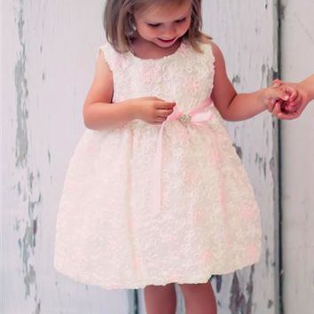 Ivory Mesh Baby Girls Dress Covered w. Satin Ribbon Flowers 0-24m