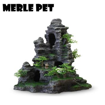 MERLE PET Decorative Rocks Landscape Rockery Ornaments Aquarium Decoration Fish Tank Cave Stone Accessories Free Shipping G07079