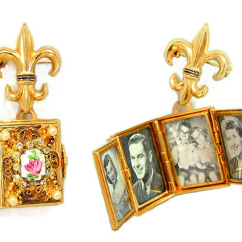 1950s Coro Brooch Locket Fleur De Lis 4 Photo Locket