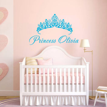 Wall Decal Name Girls Vinyl Sticker Personalized Custom Decals Art Home Decor Mural Wall Decals Nursery Baby Crown Princess Name Girls AN334