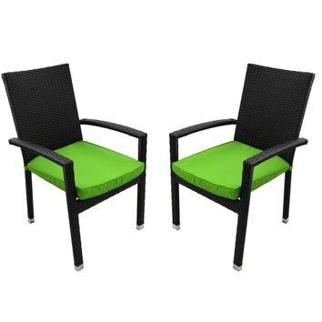 Set of 2 Black Resin Wicker Outdoor Patio Furniture Dining Chairs - Lime Green Cushions