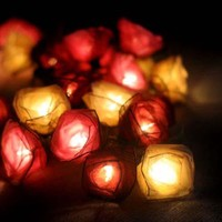 Red and White Rose Flower Floral Handmade 3D String Lights for Weddings, Parties, Home Decoration