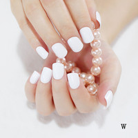 24 Hot Nail Refined Sugar Lovely Colors Fake Nails Middle Paragraph Shiny Surface Too White W