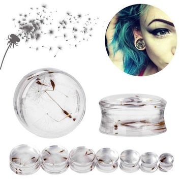 ac PEAPO2Q 1 Pair 10mm-22mm Ear Expander Body Piercing Tunnels Jewelry Natural Dandelion Resin Flesh Tunnels Stone Ear Plugs Ear Gauges
