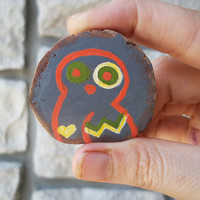 Neon Owl Brooch / Hand Painted Wood Pin / Natural Gift