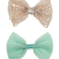 Crocheted & Chiffon Hair Bow 2-Pack | Wet Seal