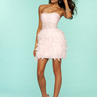 Pink Ruched Embellished Chiffon & Feather Homecoming Dress - Unique Vintage - Prom dresses, retro dresses, retro swimsuits.