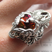 Ra - Swarvoski Ring - Filigree Ring - Fantasy Ring - Egyptian Ring - Art Nouveau Jewelry - Swarovski Jewelry - Game of Thrones