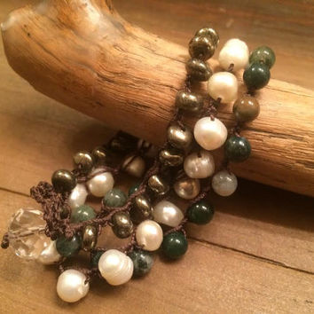 Crocheted Wrap Bracelet, Green Boho Bracelet, Natural Stone, Freshwater Pearl, Pyrite and Jasper