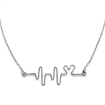 Gift for Doctor - Heartbeat Necklace with Heart, Ekg Necklace, Heart Beat Necklace