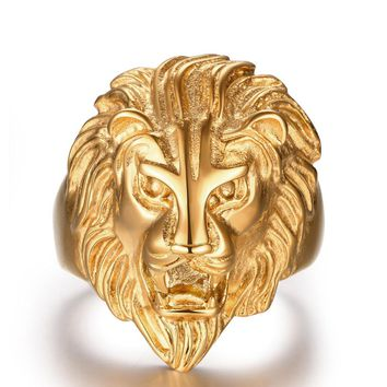 High Quality Gold Stainless Steel Lion Ring Biker Gothic Lion Head Ring Black Heavy Thai Unique Men's Cocktail Rings