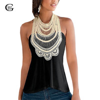 Lace Girl 2016 New Summer Sexy Women Blouse Blusas Casual Lace Crochet Sleeveless Halter Tops Sleeveless Blouse Shirts Plus Size