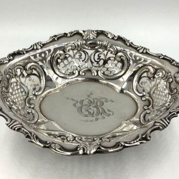 Gorham sterling Silver Fancy Pierced Repousse Footed Bowl Circa 1895