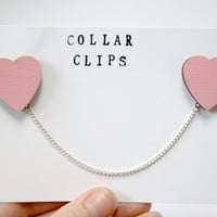 Pink Heart Wooden Collar Clips