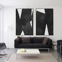 Black and White art original Abstract painting large art abstract tree canvas extra Large wall art Set of 2 pieces art canvas home decor