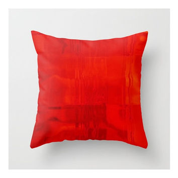 "Red Pillow Cover, Red Hot Abstract, Fine Art Photograph on Square 16x16"" Pillow Cover, Modern  Red Graphic  Pillow Cover"