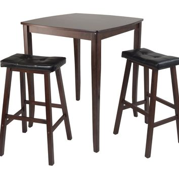3pc Inglewood High/Pub Dining Table With Cushioned Saddle Stool by Winsome Woods