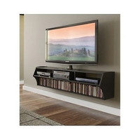 """Entertainment Center Wall Unit Floating 58"""" Black Television Media Cabinet Mount"""