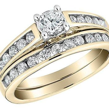 1 ct Round Cut Diamond Engagement ring in 14K Solid Gold