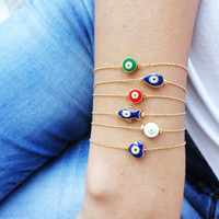 Evil eye bracelet - turkish eye jewelry greek lucky eye bracelets accessories cheap wholesale fish heart charm