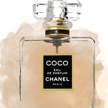 Coco Chanel perfume/ Chanel illustration/ Chanel poster/ Printable perfume/ printable wall art