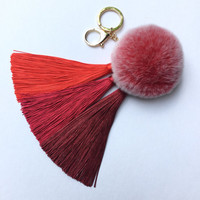 Red Gradient Tassel Handbag Charm Fur Pom Pom ball keychain