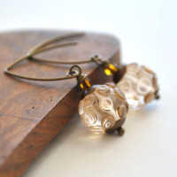 Peachy Keen Glass Earrings, Long Lampwork Dangle, Bumpy Glass Earrings