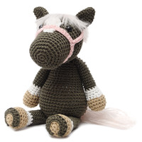 Brown-Grey Wild Horse Handmade Amigurumi Stuffed Toy Knit Crochet Doll VAC