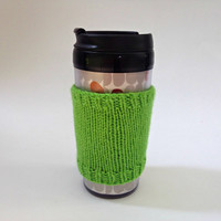 Coffee cozies, coffee cup sleeve, knit coffee cozy, knitted coffee cozy, coffee accessories, green coffee mug, coffee sleeve, coffee cozy