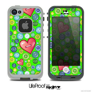 The Lime Green Vintage Vector Heart Buttons Skin for the iPhone 4 or 5 LifeProof Case