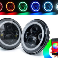 Jeep Wrangler Color Changing Halo Headlights for the JK & JKU, TJ & TJU, LJ & Unlimited LJ 1997 - 2017
