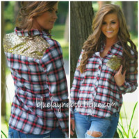 Sequin & Plaid Top PREORDER