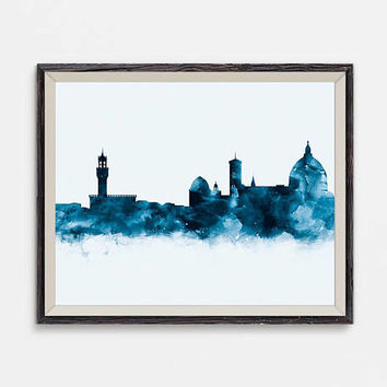 Florence Skyline Florence Art Print Wall Art Watercolor Printable Florence Italy Cityscape Travel Gift Office Decor Digital Download