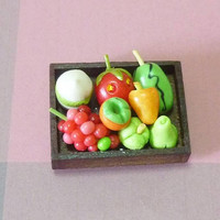 Fruit magnet coconut watermelon strawberry rose apple magnets /miniature fruit wooden tray