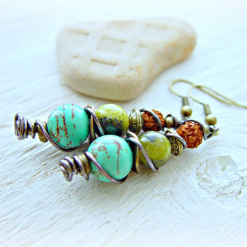 Boho Turquosie Earrings - Boho Turquoise Jewelry - Rudraksha Earrings - Boho Hippie Earrings - Boho Earrings - Tribal Earrings