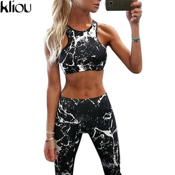new Suit Women Tracksuit Set Ink painting Printed Fitness Set Sportswear