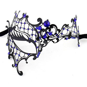 New Phantom Of The Opera Venetian Masquerade Mask Metal Half Face Mask For Women Blue Rhinestones