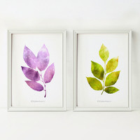 Instant download Wall decor set, Bathroom wall art, 5x7 art prints, Purple green Home decor Printable art, Leaves prints, Nature art prints